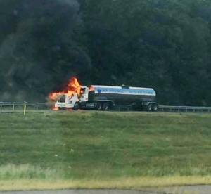 Tractor Trailer Fire, Interstate 81 southbound, Hazleton, 8-19-2015 (1) - Copy