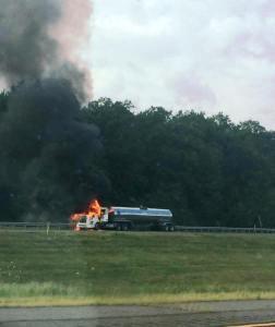 Tractor Trailer Fire, Interstate 81 southbound, Hazleton, 8-19-2015 (1)
