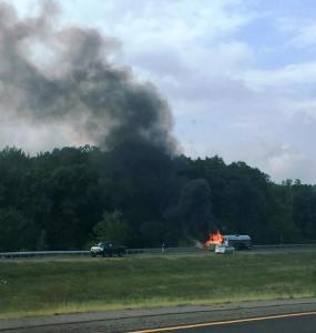 Tractor Trailer Fire, Interstate 81 southbound, Hazleton, 8-19-2015 (2)