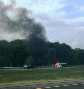 Tractor Trailer Fire, Interstate 81 southbound, Hazleton, 8-19-2015 (2)