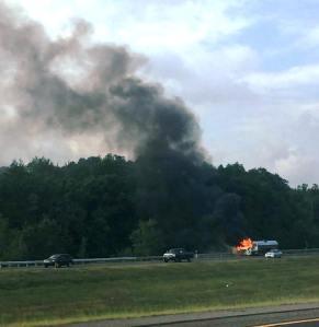 Tractor Trailer Fire, Interstate 81 southbound, Hazleton, 8-19-2015 (3)