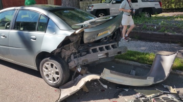 Woman Taken to Hospital After Rear Ending Parked Car, West Broad Street, Tamaqua, 8-21-2015 (11)