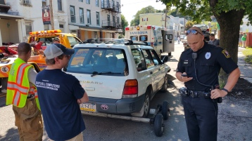Woman Taken to Hospital After Rear Ending Parked Car, West Broad Street, Tamaqua, 8-21-2015 (19)
