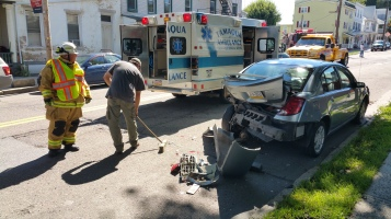 Woman Taken to Hospital After Rear Ending Parked Car, West Broad Street, Tamaqua, 8-21-2015 (2)