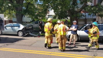 Woman Taken to Hospital After Rear Ending Parked Car, West Broad Street, Tamaqua, 8-21-2015 (5)