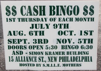 10-1, 11-5-2015, Cash Bingo, S.M.I.L.E. Mothers, Simon Kramer Building, New Philadelphia