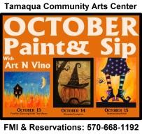 10-13, 14, 15-2015, October Paint & Sips, Tamaqua Community Arts Center
