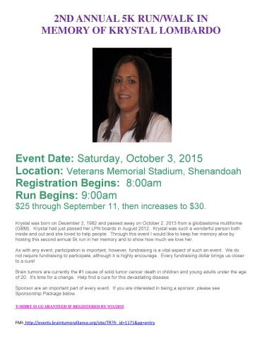 10-3-2015, 5K Walk, Run in Memory of Krystal Lombardo, Shenandoah JHSH School, Shenandoah, flyer