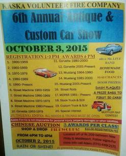 10-3-2015, Antique, Custom Car Show, Chinese Auction, Food Sale, Kaska Volunteer Fire Company, Kaska