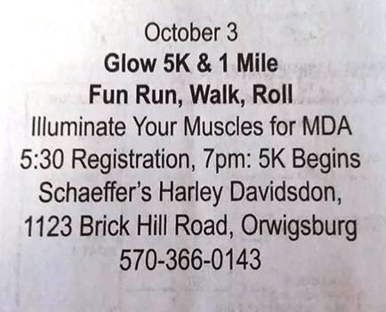 10-3-2015, Glow 5K and 1 Mile Fun Run, Walk, Roll, Schaeffers Harley Davidson, Orwigsburg