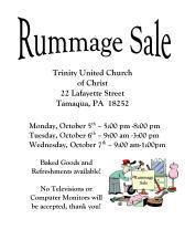 10-5, 6, 7-2015, Rummage Sale, Trinity United Church of Christ, Tamaqua