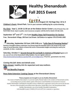 9-10, 17, 26-2015, Healthy Shenandoah Events