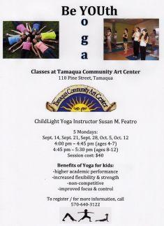 9-14, 21, 28, 10-5, 12-2015, Youth Yoga, Tamaqua Community Arts Center, Tamaqua
