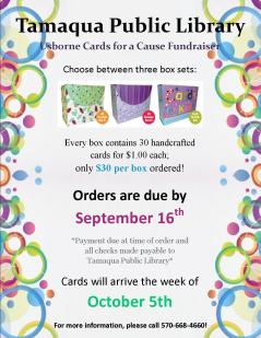 9-16-2015, Orders Due, Usborne Cards for a Cause Fundraiser, Tamaqua Public Library, Tamaqua