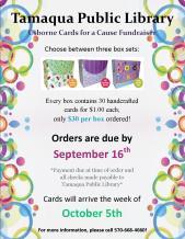 9-16-2015, Orders Due, Usborne Cards for a Cause Fundraiser, Tamaqua Public Library, Tamaqua
