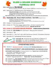 9-16, 23, 27, 28, 29, 10-1, 7, 11, 14, 20, 28, 11-4, 11, 18, 12-1, 2-2015, Tamaqua Salvation Army Older & Bolder Fall Schedule