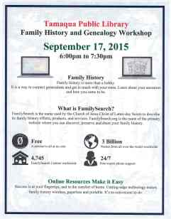 9-17-2015, Family History Workshop, Tamaqua Public Library, Tamaqua