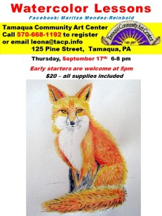 9-17-2015, Water Color Lessons, Tamaqua Community Arts Center, Tamaqua