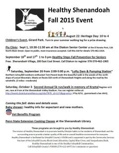 9-17, 26-2015, Healthy Shenandoah Events