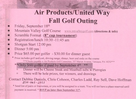 9-18-2015, Air Products, United Way, Fall Golf Outing, Mountain Valley Golf Course, Barnesville