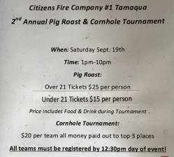 9-19-2015, Pig Roast and Cornhole Tournament, Citizen's Fire Company, Tamaqua