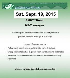 9-19-2015, Schuylkill Keep It Pretty, SKIP, S.K.I.P., M & T Bank parking lot, Tamaqua