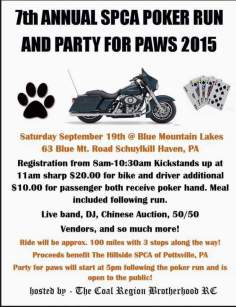 9-19-2015, SPCA Poker Run and Party for Paws, Blue Mountain Lakes, Schuylkill Haven
