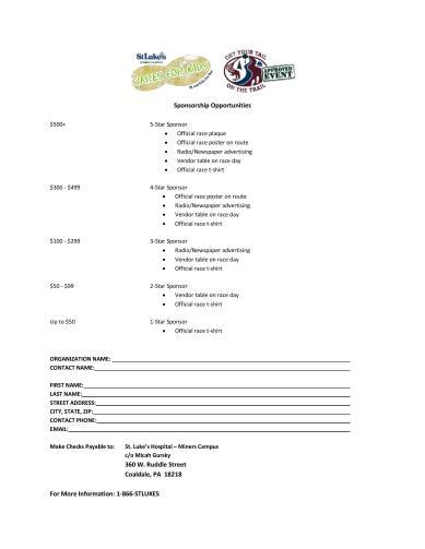 9-19-2015, St. Luke s Care For Kids 5K Run, Walk, Kids Fun Run, St Luke s Hospital, Coaldale, sponsorship form