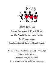 9-20-2015, Back To Church Sunday, Celebration, Gazebo, Depot Square Park, Tamaqua