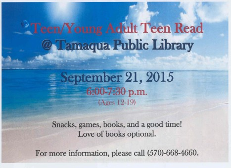 9-21-2015, Teen, Young Adult Teen Read, Tamaqua Public Library, Tamaqua