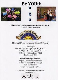 9-21, 28, 10-5, 12-2015, Youth Yoga, Tamaqua Community Arts Center, Tamaqua