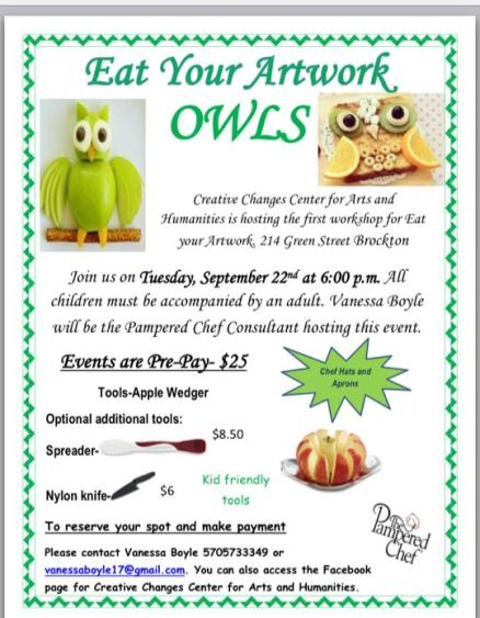 9-22-2015, Eat Your Artwork, Theme is Owls, Creative Changes Center For Arts and Humanities, Brockton