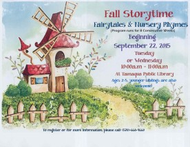 9-22-2015, Fall Story Time Starts, Ages 2 to 5, Tamaqua Public Library, Tamaqua