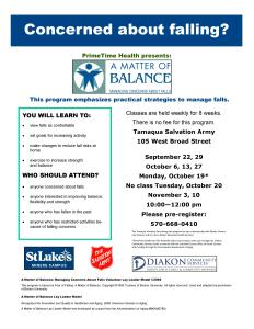 9-22, 29, 10-6, 13, 19, 27, 11-3, 10-2015, Matter Of Balance Programs, Salvation Army, Tamaqua