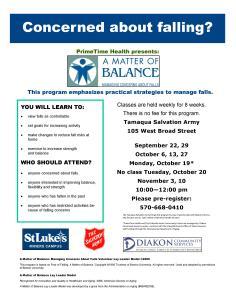9-22, 29, 10-6, 13, 19, 27, 11-3, 10-2015, Matter Of Balance Programs, Salvation Army, Tamaqua