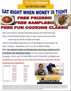 9-22, 29-2015, Healthy Eating, Budgeting, Public Library, Shenandoah