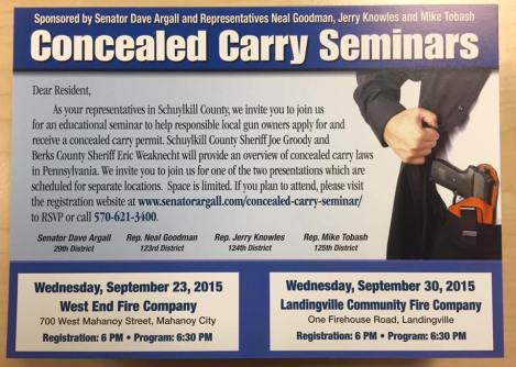 9-23-2015, Concealed Carry Seminar, West End Fire Company, Mahanoy City