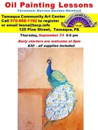 9-24-2015, Oil Panting Lessons, Peacock, Tamaqua Community Arts Center, Tamaqua-2