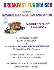 9-26-2015, Breakfast Fundraiser for Tamaqua Area Adult Day Care, St. Jerome School, Tamaqua