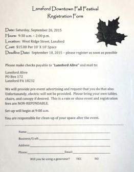 9-26-2015, Fall Festival, Vendor, Craft Show, Registration Form, Downtown Lansford (1)
