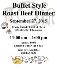 9-27-2015, Buffet Style Roast Beef Dinner, Trinity United Church of Christ, Tamaqua