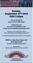 9-27-2015, Dear Tamaqua After Party, RSVP Req'd, Community Arts Center, Tamaqua