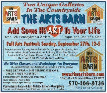 9-27-2015, Fall Arts Festival, The Arts Barn, 3 Berry Road, Schuylkill Haven
