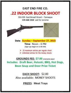 9-27-2015, Indoor Block Shoot, East End Fire Company, Tamaqua