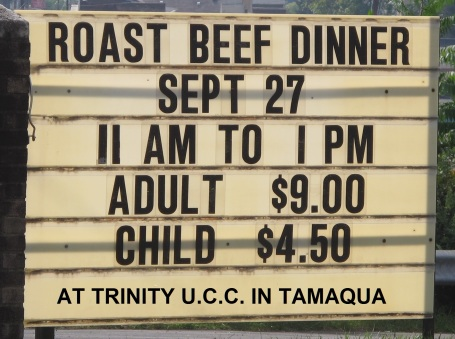 9-27-2015, Roast Beef Dinner, Trinity Unite Church of Christ, Tamaqua