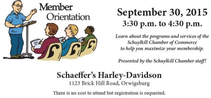 9-30-2015, Membership Orientation, Schuylkill Chamber of Commerce, Schaeffer's Harley Davidson, Orwigsburg