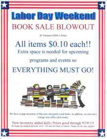 9-4 to 9-19-2015, Book Sale Blowout, Tamaqua Public Library, Tamaqua