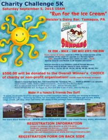 9-5-2015, Charity Challenge 5K, via Jon Bonner, Heislers Dairy Bar, Walker Twp, Tamaqua