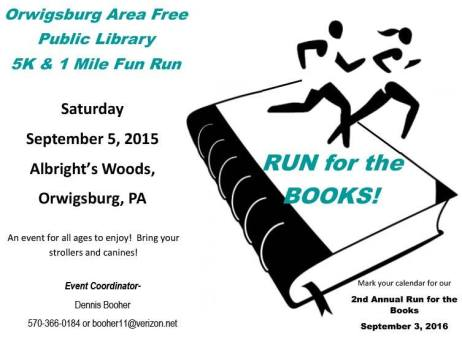 9-5-2015, Orwigsbyurg Area Free Public Library 5K & 1-Mile Fun Run, Albright's Woods, Orwigsburg