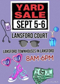 9-5, 6-2015, Lansford Court Yard Sale, Townhouses, Lansford